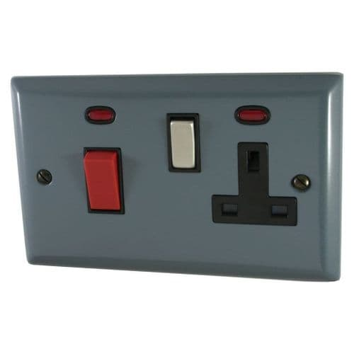 G&H SDG329 Spectrum Plate Dark Grey 45 Amp DP Cooker Switch & 13A Switched Socket